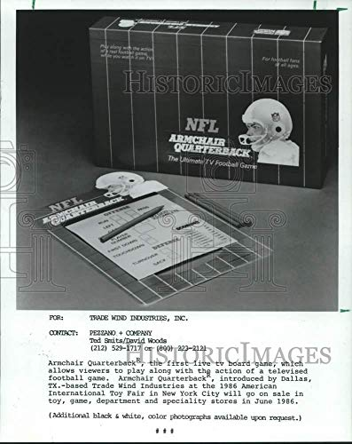 Vintage Photos 1987 Press Photo First Live TV Board Game, Armchair Quarterback Video Game