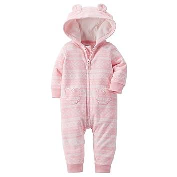 54cb903fc3da Amazon.com  Carters Baby Girls Fair Isle Hooded Fleece Jumpsuit Pink ...