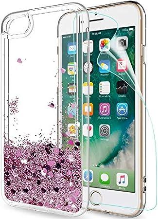 LeYi Funda iPhone 7/8 Silicona Purpurina Carcasa con HD Protectores de Pantalla,Transparente Cristal Bumper Telefono Gel TPU Fundas Case Cover para Movil iPhone 7/8 ZX Oro Rosa: Amazon.es: Electrónica