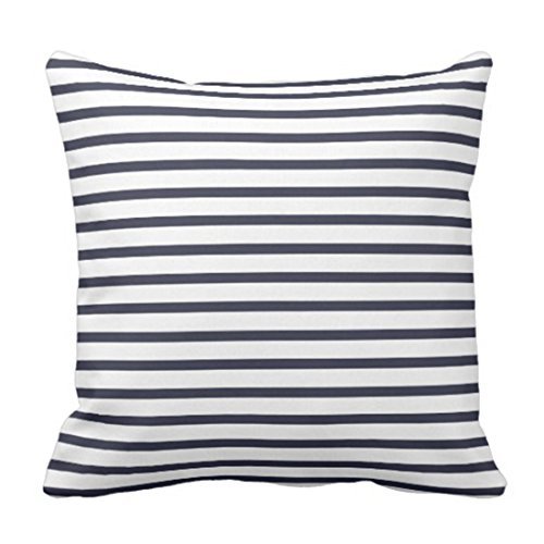 VANMI Throw Pillow Cover Colorful Garden Navy Blue Stripes Modern Decorative Pillow Case Home Decor Square 18 x 18 Inch Pillowcase from VANMI