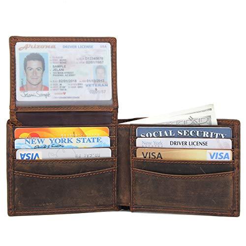 Texbo RFID Blocking Men's Genuine Cowhide Leather Bifold Stylish Wallet (Dark Brown) (Cowhide Genuine Wallet)