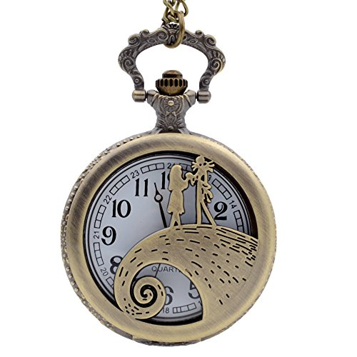 The Nightmare Before Christmas Sally&Jack Men's Women's Quartz Pocket Watch Necklace Chain Gifts For Xmas
