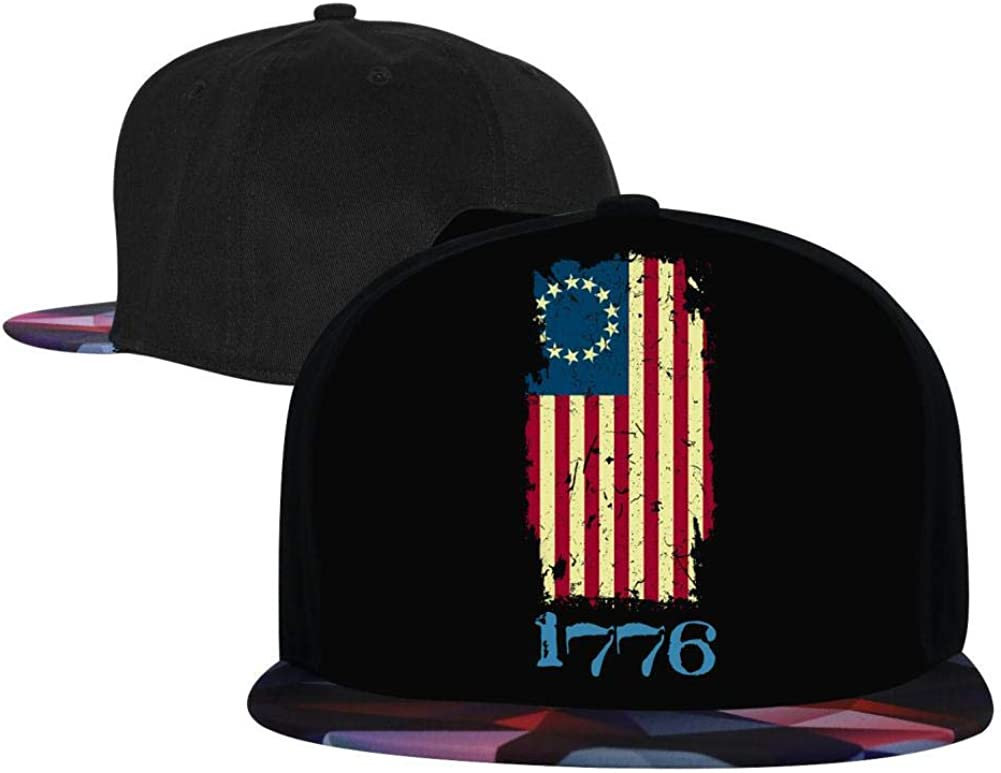 Adjustable Hip Hop Flat-Mouthed Baseball Caps EUYK77 American Flag 1776 Mens and Womens Trucker Hats
