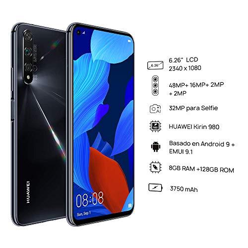 """Huawei Nova 5T (128GB, 8GB) 6.26"""" LCD, Kirin 980, 48MP Quad Camera, 22.5W Fast Charge, Dual SIM GSM Unlocked Global 4G LTE International Model YAL-L21 (Black)"""