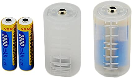 8Pcs AA to C Size Battery Adapter Converter Case Spacers Transparent Holder Plastic Protective Container