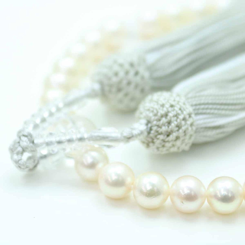 真珠 数珠 パール念珠 あこや真珠 数珠 7.5mm-8mm ホワイトピンクカラー 人絹 グレー房 アコヤ 本真珠 B01FSEUSU4