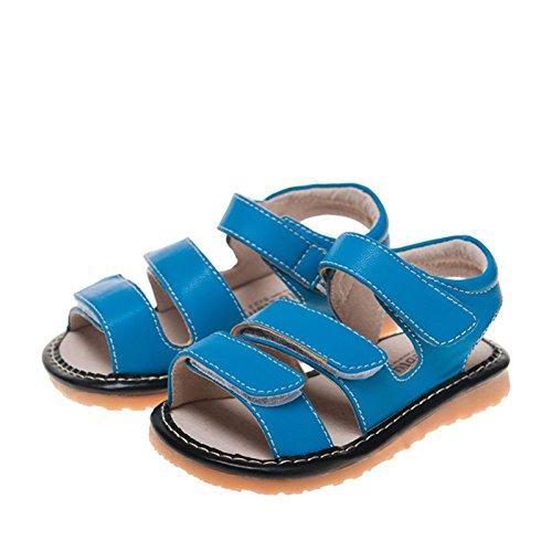 Little Blue Lamb - Krabbelschuhe Babyschuhe squeaky Leder - Jungen | Sandalen blau 3 velcro - Größe: 20