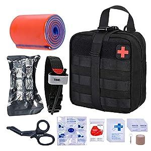 BUSIO Kit de Primeros Auxilios tácticos de Emergencia-MOLLE Admin Pouch IFAK-Vendaje para heridas Control de Sangre EMT… 2