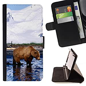 Momo Phone Case / Flip Funda de Cuero Case Cover - Enfriar Grizzly Bear - Apple Iphone 4 / 4S