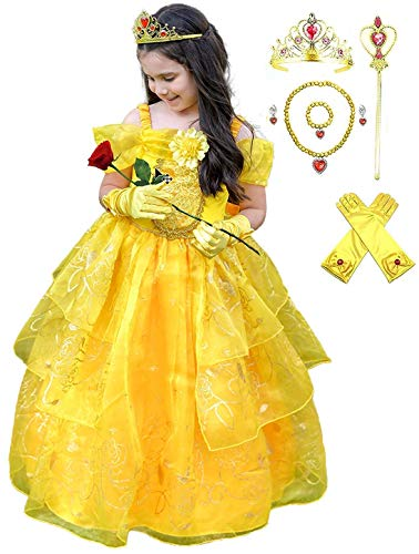 Romy's Collection Girls Deluxe Yellow Belle Dress up Gown Costume w/Accessories (7-8, Yellow 2)