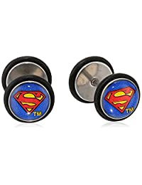 DC Comics Unisex Superman Logo Stainless Steel Screw Back Earrings-18 Gauge