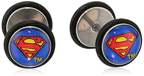 DC Comics Unisex Superman Logo Stainless Steel Screw Back Earrings-18 Gauge]()