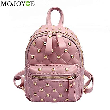 5df6b49699 Image Unavailable. Image not available for. Color  Cute Rivet Backpack  Fashion Women Waterproof PU Leather Girls Shoulder Bag Small School ...