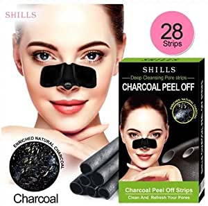 SHILLS Black Mask Charcoal Blackhead Remover Pore, Deep Cleansing Pore Strips Pack 28 Count Strips