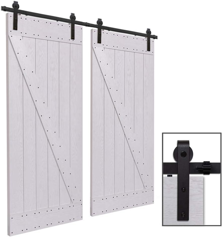 CCJH 12FT-366cm Herraje para Puertas Kit de Accesorios para Puerta Correderas Juego de Armarios de Acero Corredizos para Puertas Corredera Riel Rueda para Puertas de Madera Dobles