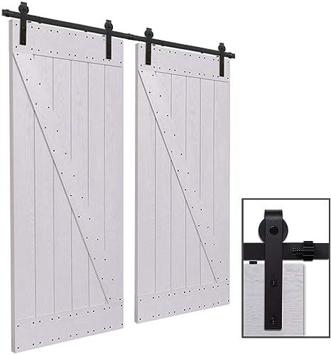 CCJH 12FT-366cm Herraje para Puertas Kit de Accesorios para Puerta Correderas Juego de Armarios de Acero Corredizos para Puertas Corredera Riel Rueda para Puertas de Madera Dobles: Amazon.es: Bricolaje y herramientas