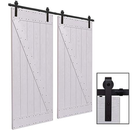 243CM/8FT Herraje para Puerta Corredera Kit de Accesorios para Puertas Correderas Juego de Piezas,para puerta doble,negro: Amazon.es: Bricolaje y herramientas