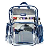 Heavy Duty Clear Backpack Durable Military Nylon Clear Bookbags Transparent Backpack (Medium, Gray)