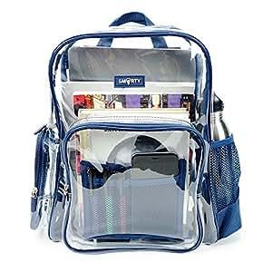83daf5f07a Amazon.com  Heavy Duty Clear Bookbag Durable Plastic Transparent ...