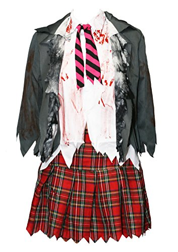 Bslingerie Women Zombie High School Uniform Skirt Costume Set (XL, School Uniform) -
