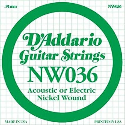 DAddario NW036 - Cuerda para guitarra eléctrica de níquel.036