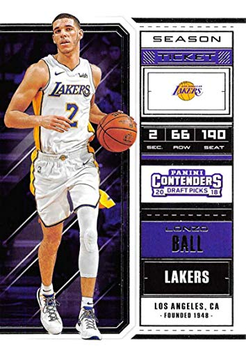 2018-19 Panini Contenders Draft Picks Basketball Season Ticket Variation #42 Lonzo Ball Los Angeles Lakers Official NBA Trading Card