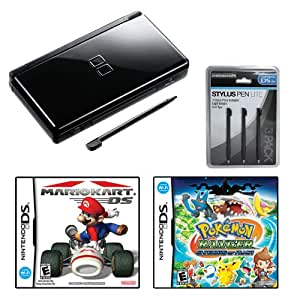 Nintendo DS Lite Black Game System BUNDLE with Pokemon Ranger Shadows of Almia and Mariokart DS Games