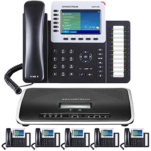 Business Phone System by Grandstream: Ultimate Package Including Auto Attendant, Voicemail, Cell & Remote Phone Extensions, Call Recording & Free Phone Service for 1 Year (6 Phone Bundle)