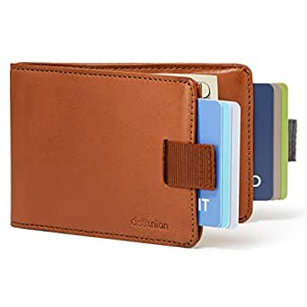 Distil Union - Minimalist Leather Slim Bifold Wallets with Money Clip, Credit Card Holder (Hickory with Flexlock)