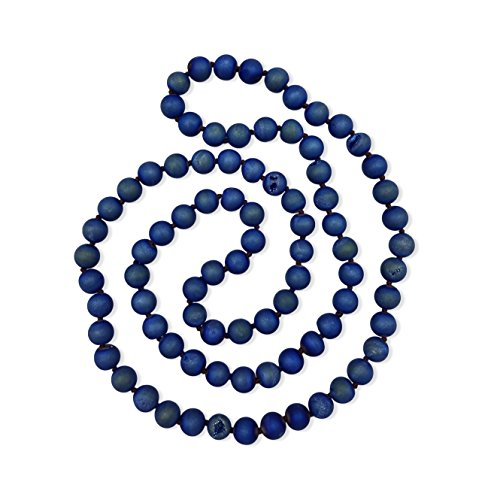38 Inch 10MM Matte Finish Semi-precious Mid-night Blue Colored Druzy Agate Long Endless Infinity Beaded Necklace. Colored Agate