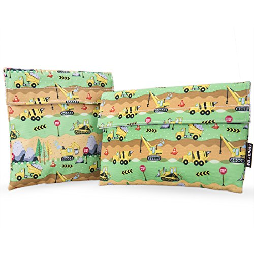 Friendly Reusable Snack Bags Sandwich Wrap w/Insulated Fabric - Great for School Lunch, Work, Picnic Food, Boys & Girls - Sizes: 7x7 in & 6x9 in - Construction Vehicles ()