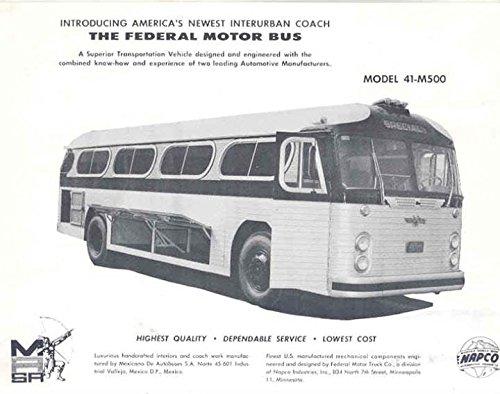 1962 Federal MASA NAPCO Intercity Bus Brochure Mexico
