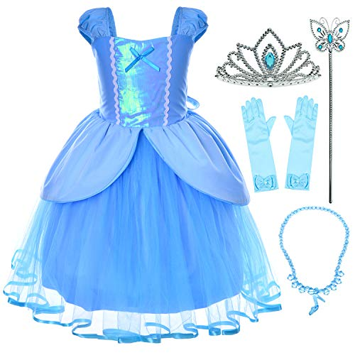 Princess Cinderella Costume Toddler Girls Birthday Dress Up with Gloves,Crown,Wand,Necklace (2T 3T)]()