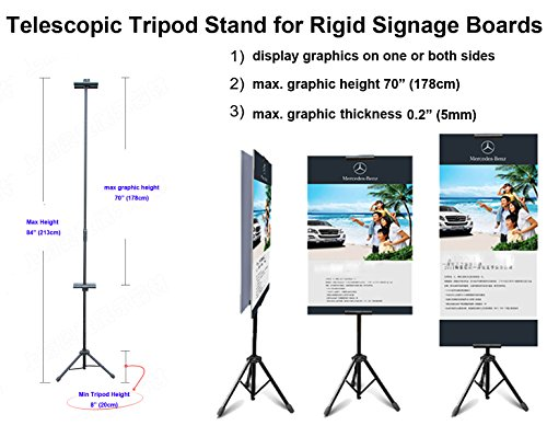 TheDisplayDeal TM Tripod Stand for Rigid Board Sign Display, Adjustable Height up (Display Board Sign)