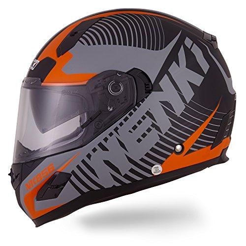 Cascos NENKI NK-856 Cascos de carreras de motos de calle de cara completa aprobados por DOT con protector solar interior (pequeño, negro mate y naranja, visera transparente)