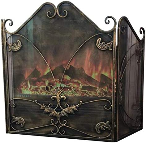 暖炉スクリーン 幅広でスタイリッシュ 3折り畳み式暖炉スクリーン、 アンティーク真鍮仕上げ、 暖炉フェンス スパークガード 直火/ガス火災ストーブ/ログウッドバーナー用
