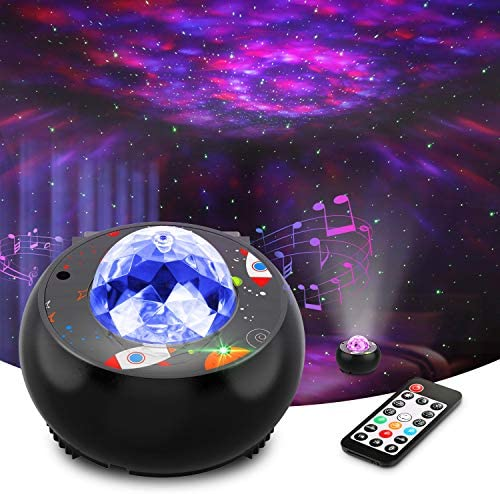 Riarmo Galaxy Star Projector, 2020 Upgraded Night Light Projector with Music Speaker Remote Control for Bedroom Party Home Decor, Starry Projector with Voice Control and Timer for Kids Adults