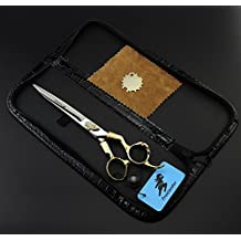 Professional 7 Inch Barber Titanium Razor Edge Hair Cutting Shears Scissors Adjustment Tension Screw Hand-Sharpened Cutting Edges Japanese Gold Stainless Steel …