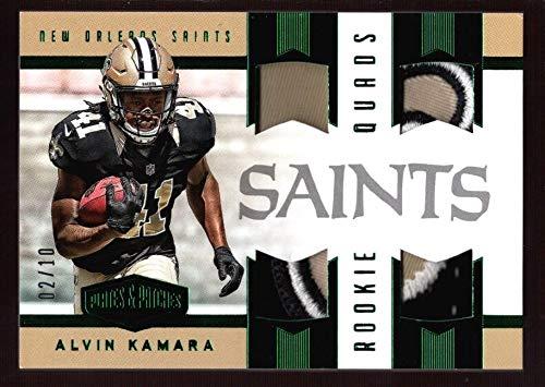 BIGBOYD SPORTS CARDS Alvin Kamara 2/10 Saints Rookie Quad Jersey Logo Patch RC 2017 Plates & Patches