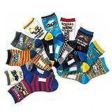 Boys Socks Kids Assorted Designs Excavator Print Crew Cotton Socks 10 Pairs