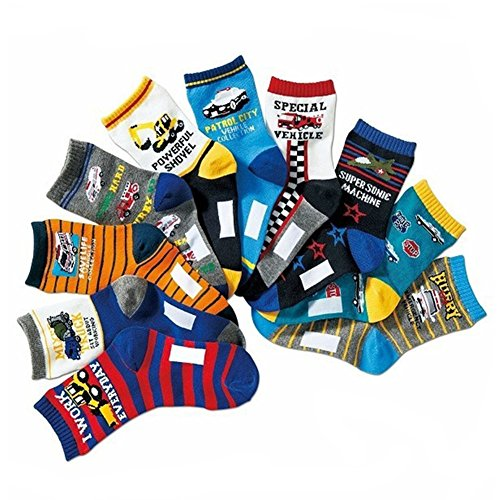 Boys Socks Kids Assorted Designs Excavator Print Crew Cotton Socks 10 Pairs Design Excavator