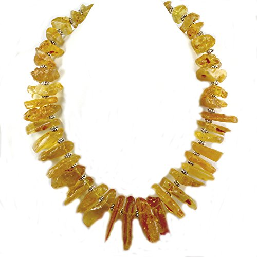Ny6design 008 Amber Branch Huge Necklace w Silver Plated Toggle 19