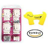 BALANCE Bundle - Best Cabinet & Drawer Lock With Strong Magnetic For Thick Walls for your Child Safety - Easy To Install & Completely Hidden - No Drill Needed (4 Locks + 1 Key) + One Doggie Door Stopper