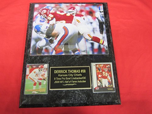 Derrick Thomas Kansas City Chiefs 2 Card Collector Plaque #4 w/8x10 Photo SACKING JOHN ELWAY