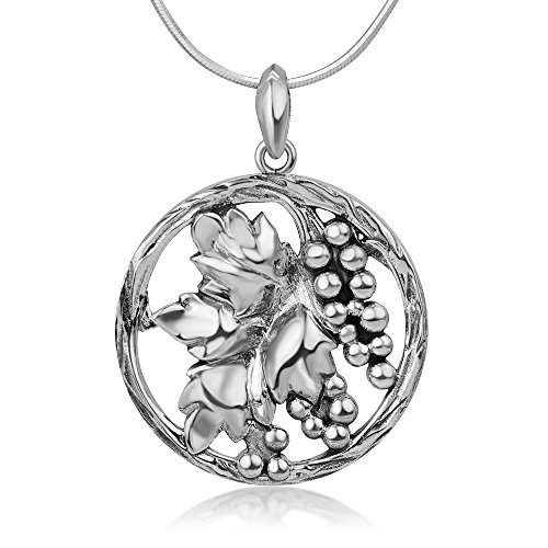 Chuvora 925 Sterling Silver Antique Grapes Vineyard Leaves Cut Open Round Pendant Necklace, 18 - Wild Blackberry Wine