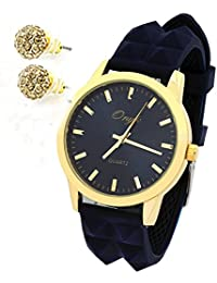 Womens Gold Metal Tone Dark Blue Silicone Band Blue Face Quartz Wrist watches and Earring Set