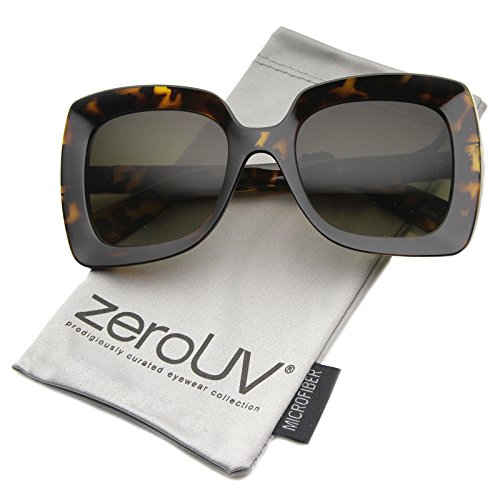 zeroUV - Oversize Chunky Frame Metal Accent Temple Square Sunglasses 53mm (Shiny Tortoise / - Sunglasses Tortoise Or Black