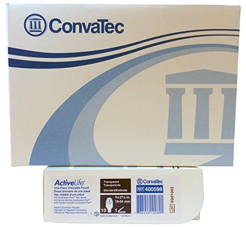 Convatec Active Life 1 Piece Drainable Pouch Transparent - Box of 10 - Model 400598 - 1 Piece Drain Pouch