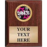 5x7 Walnut Finish Dancing Plaques - Customized Glitter Dance Plaque Awards