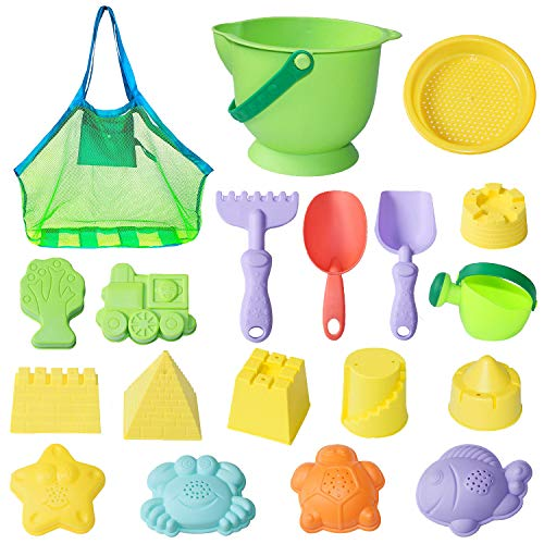 - MEIGO Beach Sand Toys - Toddler Outdoor Pool Bath Play Set Soft Plastic Sandbox Toys with Models and Molds Bucket Shovel Rake Mesh Bag for Baby Kids (18pcs)